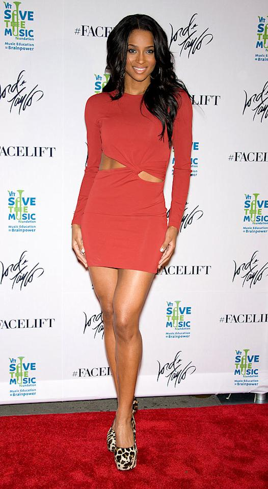 "Fellow R&B star Ciara strutted her stuff at Lord & Taylor's ""Ultimate Face-Lift"" fete in an ab-baring Jasmine di Milo dress and leopard print Prada platforms. Gilbert Carrasquillo/<a href=""http://www.gettyimages.com/"" target=""new"">GettyImages.com</a> - October 26, 2010"