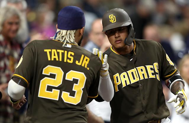 How close are Fernando Tatis Jr. and Manny Machado to sparking a season of playoff contention for the young but inconsistent Padres? (Photo by Sean M. Haffey/Getty Images)