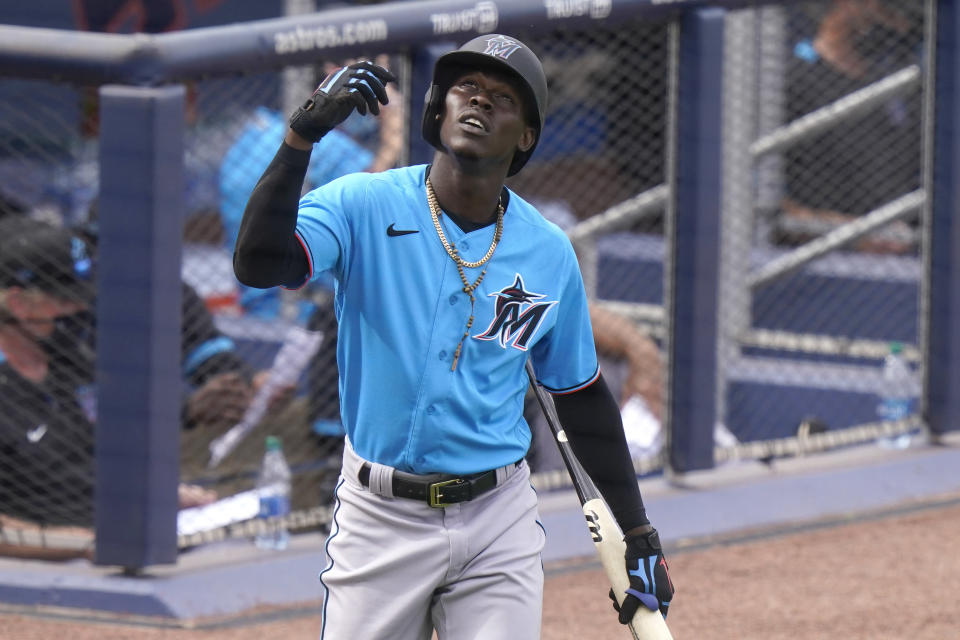 Miami Marlins second baseman Jazz Chisholm looks skyward before batting during the seventh inning of a spring training baseball game against the Washington Nationals, Wednesday, March 3, 2021, in West Palm Beach, Fla. Chisholm is competing with fellow prospect Isan Diaz for the second base job. (AP Photo/Lynne Sladky)