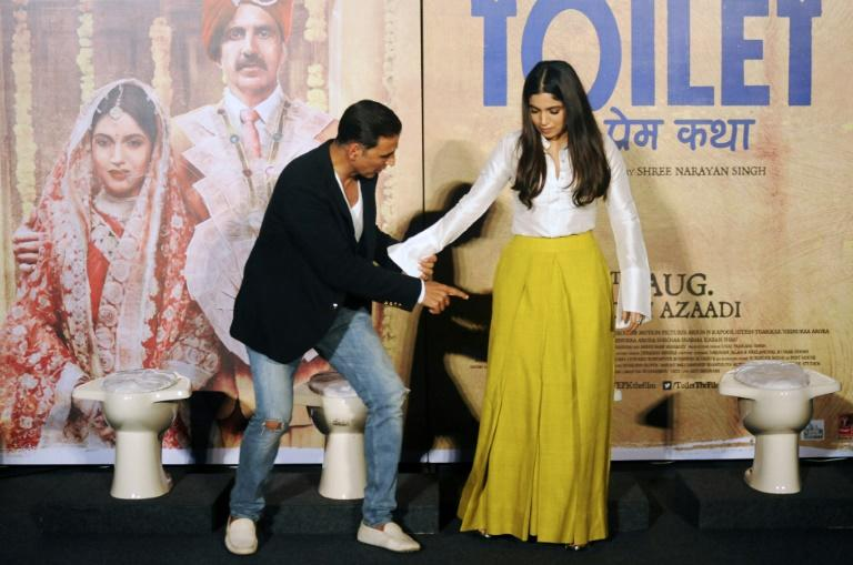 Akshay Kumar (L) and Bhumi Pednekar star in 'Toilet: Ek Prem Katha' ('Toilet: A Love Story') which is inspired by the true-life tale of one man's battle to build toilets in his village in rural India