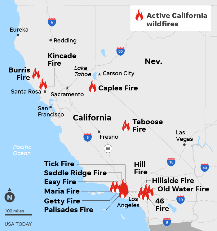 SOURCE CAL FIRE, Nov. 1; ESRI