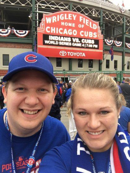 Pete and his wife Catherine outside Wrigley Field before Game 4. (Courtesy Pete Seat).