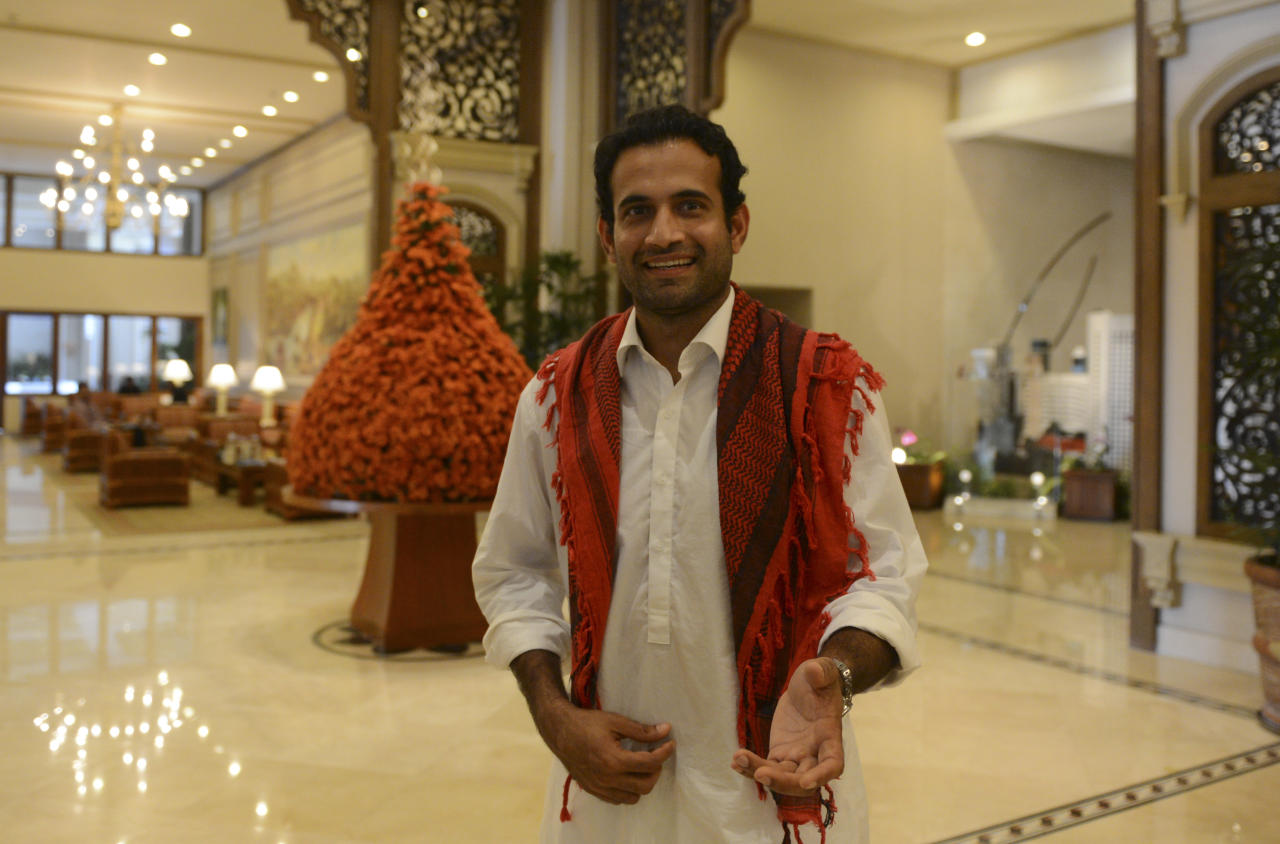 Indian cricketer Irfan Pathan gestures in a hotel lobby ahead of the World Cup Twenty20 cricket tournament in Colombo on September 14, 2012. The two-yearly tournament in cricket's shortest format will be played from September 18 to October 7, with Hambantota holding three matches, Pallekele nine and capital Colombo fifteen. AFP PHOTO/Ishara S.KODIKARA