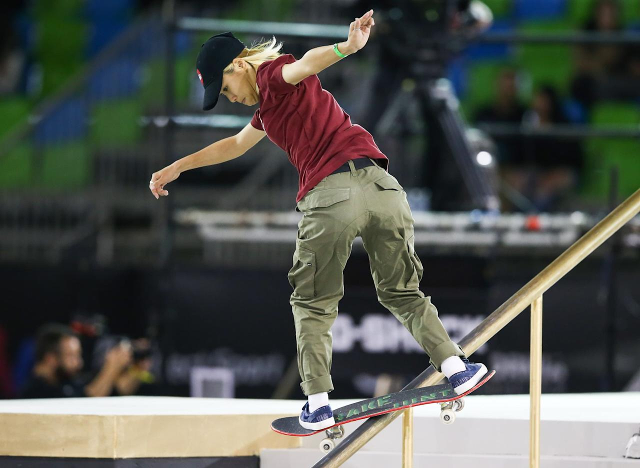 """<p><em>Above: Nishimura competes in the finals of the Street League Skateboarding World Championship in 2019</em></p> <p><strong>POPSUGAR: What's it like to be crushing it at a sport that statistically more men participate in? Have you ever experienced any sort of sexism during your career?</strong></p> <div class=""""pullquote-container""""><blockquote class=""""pullquote"""">""""I think our society is changing slowly and starting to realize that we're doing this, but there's always the occasional person who's a kook.""""</blockquote></div> <p><strong>Armanto:</strong> I had moved around a lot growing up, so when I found the skate park, I felt like I found my place and I didn't really think much of it that I was female and then [it was] mostly guys. Most of the time at the skate park, everyone's really cool. And even online, they're mostly positive comments, but every so often there's someone who wants to bash or they sometimes will say things that they don't realize are backhanded compliments. I think our society is changing slowly and starting to realize that we're doing this, but there's always the occasional person who's a kook. </p> <p>When I was going to the skate park every day, there was the occasional person that would say, """"You are pretty good for a girl,"""" but most of the time I would just take it as like, I know what they're trying to say, but they don't even realize that they're being insulting. You can't police everyone. If it's the right situation to maybe say something about it, then I would do it. But in general, you can't fix everything all at once. You just can take one thing at a time.</p> <p><strong>Steamer:</strong> I can't put a name to the feeling. It just feels good to be involved and have an impact and a reach on people. It feels good to achieve what I've achieved in skateboarding, but it also just feels good to be able to achieve what I've achieved as [someone who's] not the norm. </p> <p>I've definitely experienced discrimination on social media, I've expe"""