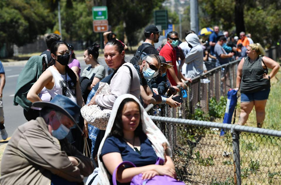 People queue in Adelaide for Covid tests. Source: Getty