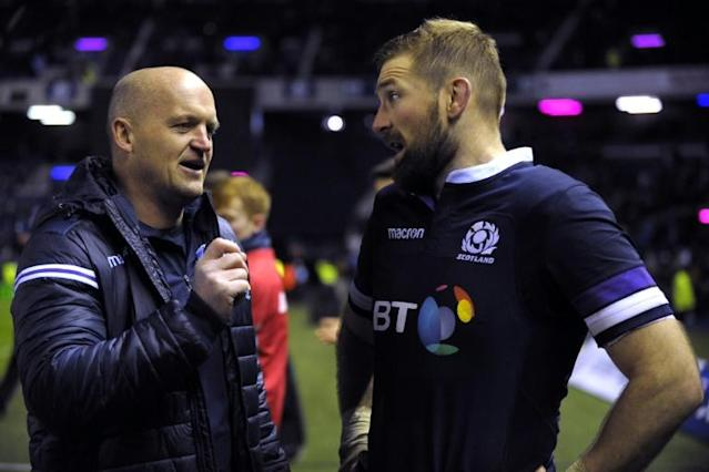 Scotland's flanker and captain John Barclay (R) and head coach Gregor Townsend chat after their Autumn International rugby union Test match against Australia, at Murrayfield in Edinburgh, on November 25, 2017