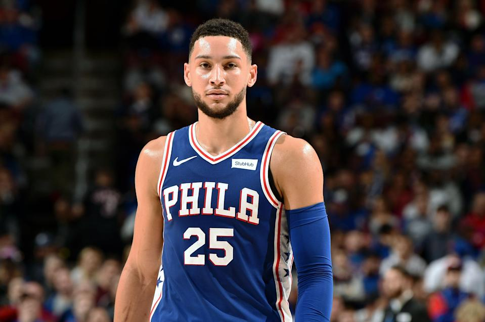 PHILADELPHIA, PA - APRIL 15: Ben Simmons #25 of the Philadelphia 76ers looks on in Game Two of Round One against the Brooklyn Nets during the 2019 NBA Playoffs on April 15, 2019 at the Wells Fargo Center in Philadelphia, Pennsylvania. NOTE TO USER: User expressly acknowledges and agrees that, by downloading and/or using this photograph, user is consenting to the terms and conditions of the Getty Images License Agreement. Mandatory Copyright Notice: Copyright 2019 NBAE (Photo by David Dow/NBAE via Getty Images)