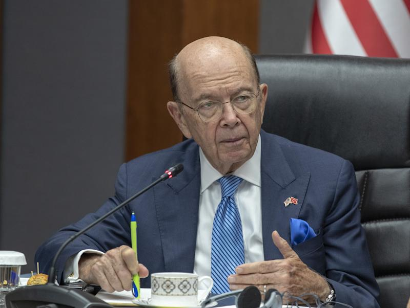 United States Secretary of Commerce Wilbur Ross and Turkish Trade Minister Ruhsar Pekcan (not seen) hold joint press conference in Ankara, Turkey on Sept. 10, 2019. (Photo: Fatih Kurt/Anadolu Agency via Getty Images)