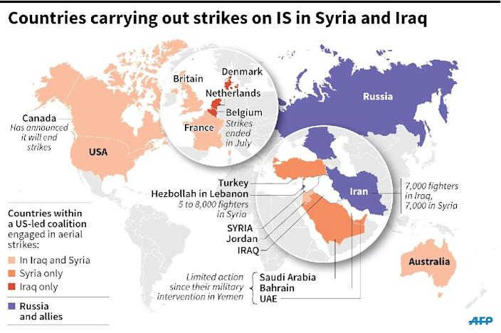 Map locating countries carrying out aerial strikes against Iraq and Syria (135 x 90 mm) (AFP Photo/)