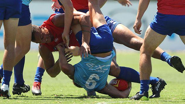 Preuss's spear tackle on Swallow. Image: Getty