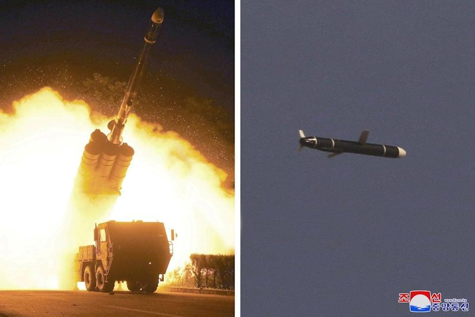 Images from North Korean media purport to show 'The Academy of National Defense Science' conducting long-range cruise missile tests (via REUTERS)