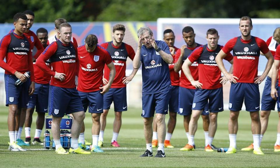 Roy Hodgson takes England training before the shock defeat against Iceland at Euro 2016.