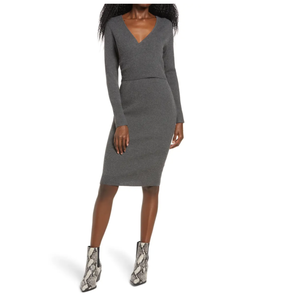 Leith Wrap It Up Sweater Dress. Image via Nordstrom.