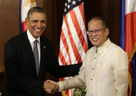 U.S. President Obama meets with Philippine's President Aquino inside Malacanang presidential palace in Manila