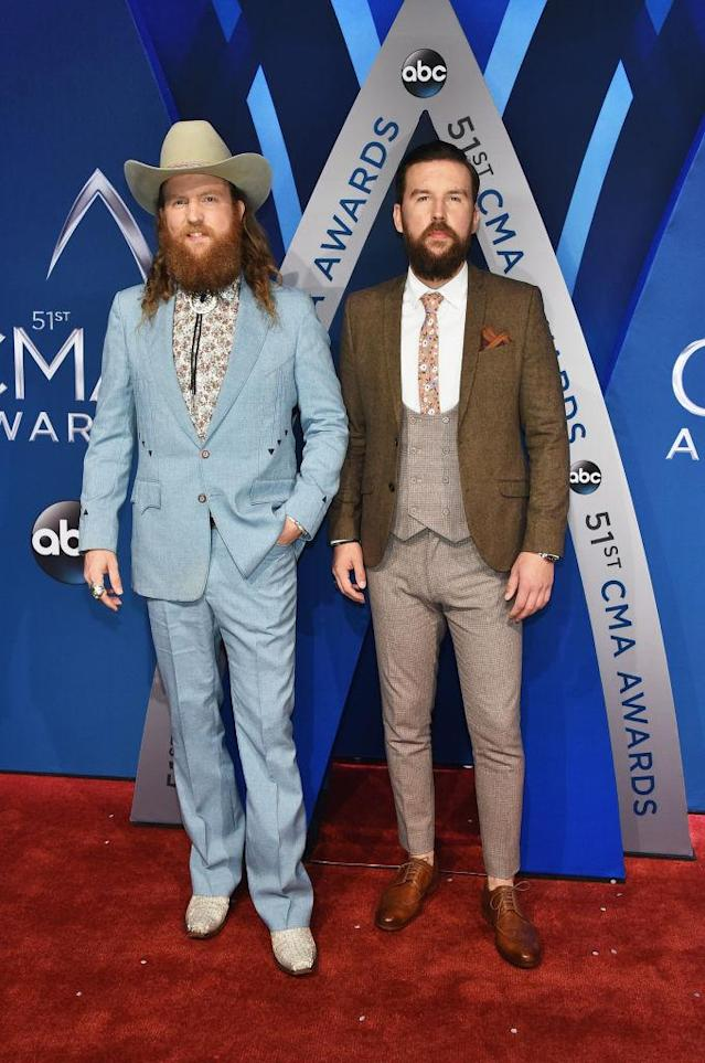 <p>Both brothers both rocked florals with their imaginative sartorial display. (Photo: Getty Images) </p>