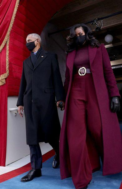 PHOTO: ormer President Barack Obama and wife Michelle Obama arrive for the inauguration of President-elect Joe Biden on the West Front of the U.S. Capitol, Jan. 20, 2021, in Washington, D.C.  (Jonathan Ernst-Pool/Getty Images)