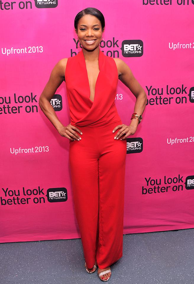 Jumpsuits are super hard to pull off, but the gorgeous Gabrielle Union made it look easy at BET's upfront presentation on Tuesday afternoon in this Bec & Bridge stunner, which featured a plunging neckline. A bangle bracelet, snakeskin sandals, and bright smile made for the perfect accessories. (4/16/2013)