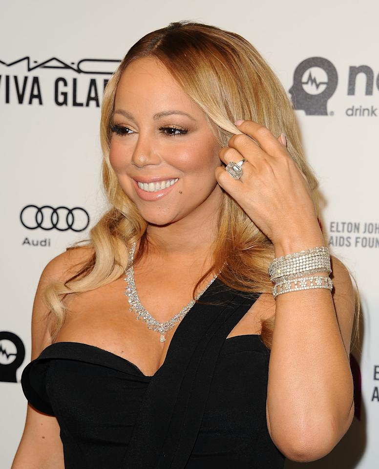 <p>Of course the diva that is Mariah Carey comes first with her 35-carat diamond and platinum ring costing a whopping £7.7 million. Mariah and James Packer didn't make it down the aisle but the ring still lives.<br /><i>[Photo: Getty]</i> </p>