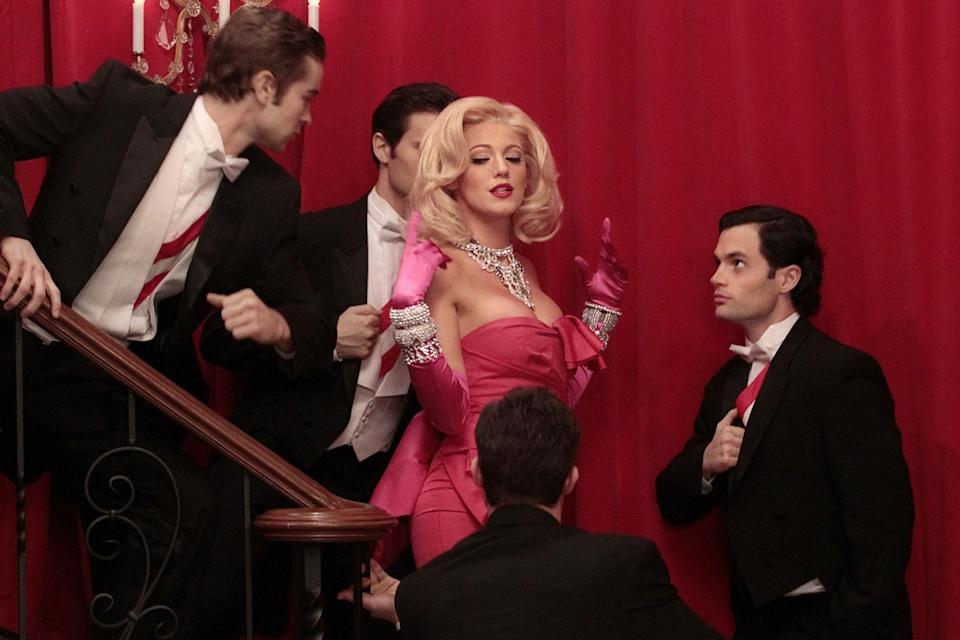 """<p>Lively briefly channeled Monroe for a dream sequence in the 100th episode of <em>Gossip Girl</em> in 2012, donning Monroe's <a href=""""https://www.youtube.com/watch?v=n7Op_Mpyw_Y"""" rel=""""nofollow noopener"""" target=""""_blank"""" data-ylk=""""slk:iconic hot pink outfit and lip-syncing"""" class=""""link rapid-noclick-resp"""">iconic hot pink outfit and lip-syncing</a> """"Diamonds Are a Girl's Best Friend."""" </p>"""