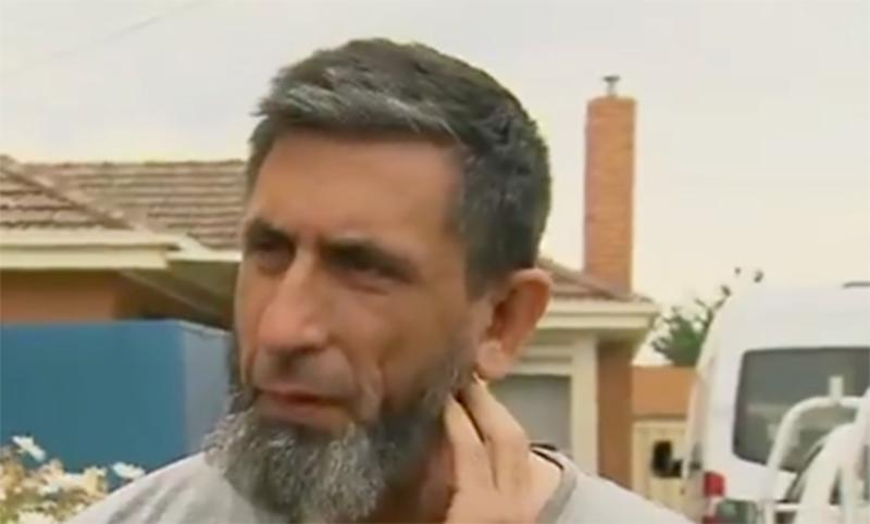 Armagan Eriklioglu spoke to reporters outside his Campbellfield home