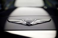 FILE PHOTO: The logo of Hyundai Genesis is seen on its new model EQ900 at the Hyundai Motor Studio in Seoul