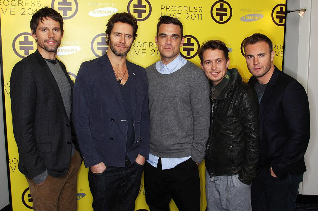 """British boy band Take That was like England's version of the Backstreet  Boys, *NSYNC, 98 Degrees, and LFO all rolled into one! By 1995, they  made their way to the U.S. and their song """"Back for Good"""" was a hit. The  song peaked at No. 7 on the Billboard Hot 100, but the guys — Jason Orange, Howard  Donald, Robbie Williams, Mark Owen, and Gary Barlow — were No. 1 in the hearts of their young female fans. However,  Take That dealt with some rocky times after Williams left the band in  1995, partly due to his struggles with drugs, and disbanded altogether  in 1996. (Williams had a somewhat successful solo career that included  the song """"Angels,"""" which Jessica Simpson later recorded.) Fast forward a  decade, and Barlow, Donald, Orange, and Owen recorded a comeback album,  <i><em>Beautiful World</i></em>. Their true comeback, though, came in 2010, when  Williams announced he had returned to the band, which continues to  record and tour. And the world was as it should be ...."""