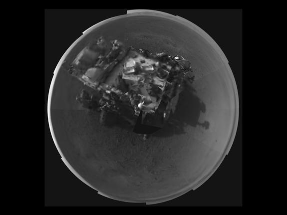 This Picasso-like self portrait of NASA's Curiosity rover was taken by its Navigation cameras, located on the now-upright mast. The camera snapped pictures 360-degrees around the rover, while pointing down at the rover deck, up and straight ahe