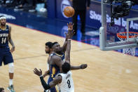 New Orleans Pelicans forward Zion Williamson shoots over Brooklyn Nets forward Jeff Green (8) in the second half of an NBA basketball game in New Orleans, Tuesday, April 20, 2021. (AP Photo/Gerald Herbert)