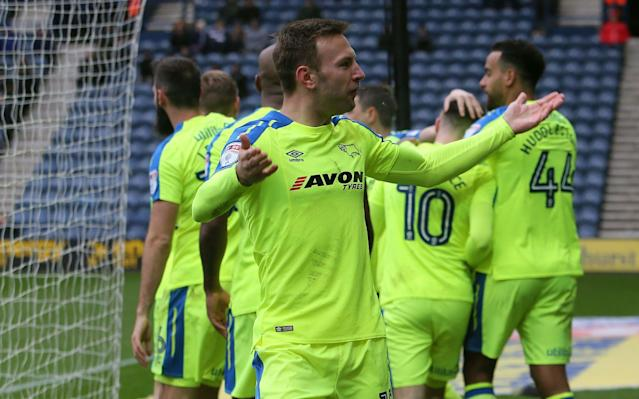 """By Graham Banks The victory may have been ugly and tinged with good fortune but Gary Rowett could not have cared less at Deepdale yesterday. After eight winless games, Rowett's Derby arrested their slump thanks to Tom Lawrence's free-kick and a missed Preston penalty, leaving them strongly placed to clinch a play-off place. """"It didn't matter how we won, how ugly the performance was,"""" said Rowett. """"I couldn't give a monkey's if we didn't play attractive football. We tried to play attractive on Friday and lost to the bottom team. It's a massive boost and hopefully gives the players a bit of breathing space to play with more composure."""" That shocking Sunderland reverse had left Derby with little margin for error over the season's concluding games and, when Andre Wisdom was judged to have pushed over Alan Browne after 36 minutes, Rowett admitted he feared the worst. But Browne himself, having been kept waiting by Derby keeper Scott Carson, struck the left-hand post and the ball flew wide. Credit: ACTION IMAGES Preston's frustrations mounted when Tom Barkhuizen was judged to have fouled former Preston forward David Nugent on 53 minutes, handing Lawrence a free-kick 25 yards from goal. Derby's first, and only, on-target shot took a slight deflection off the wall but should still have been dealt with by Chris Maxwell who could only touch it into the corner of his net. In the celebrations that followed, Lawrence broke the nose of team-mate Nugent with a stray elbow but the Derby striker insisted: ''I'll probably have two black eyes tomorrow but it's worth it for the three points."""" """"If you look at the performance, we passed the ball well and had 19 shots but at this stage of the season all that matters is results,"""" said Preston manager Alex Neil. Team lineups Preston (4-2-3-1) Maxwell; Fisher, Huntington, Davies, Cunningham; Pearson, Gallagher; Barkhuizen (Bodin 73), Browne (Moult 63), Robinson (Johnson 79); Maguire. Subs Rudd, Clarke, Harrop, Earl. Booked Pearson. Derby (4-"""