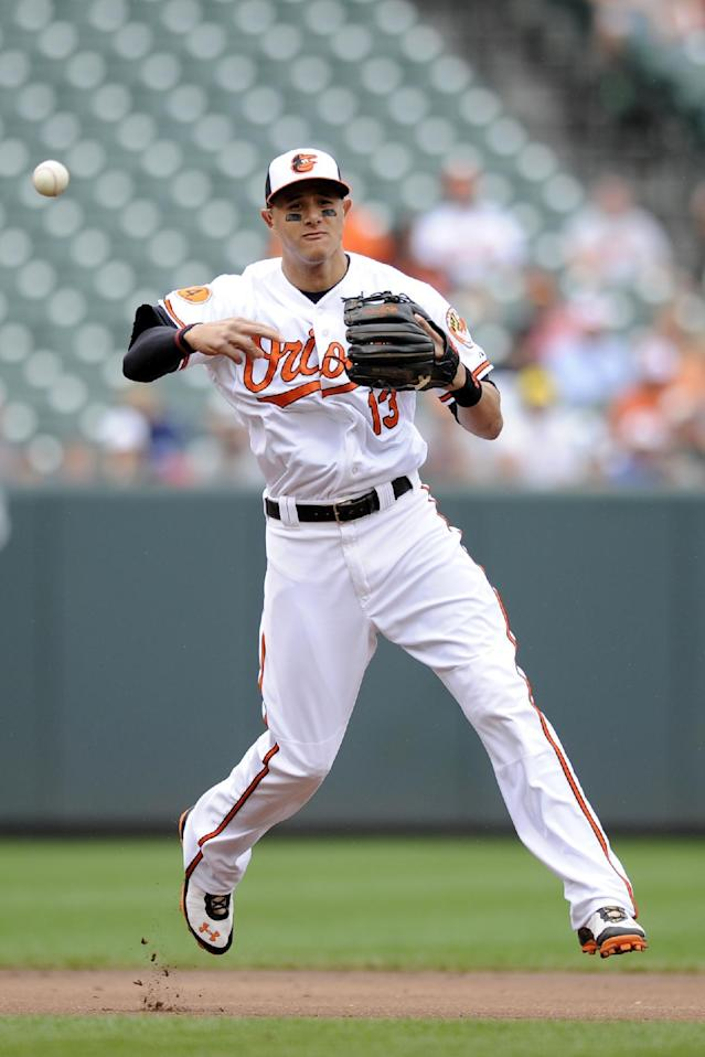 Baltimore Orioles third baseman Manny Machado throws to first to get out Colorado Rockies' DJ LeMahieu during the third inning of a baseball game on Sunday, Aug. 18, 2013, in Baltimore. (AP Photo/Nick Wass)