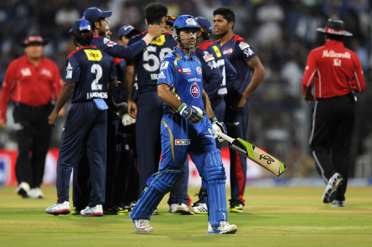 Ricky Ponting captain of Mumbai Indians walks back after getting out during match 10 of the Pepsi Indian Premier League ( IPL) 2013  between The Mumbai Indians and the Delhi Daredevils held at the Wankhede Stadium in Mumbai on 9th April 2013 ..Photo by Pal Pillai-IPL-SPORTZPICS ..Use of this image is subject to the terms and conditions as outlined by the BCCI. These terms can be found by following this link:..https://ec.yimg.com/ec?url=http%3a%2f%2fwww.sportzpics.co.za%2fimage%2fI0000SoRagM2cIEc&t=1506344970&sig=gu8dviuIWbPDU28g1eSGYQ--~D