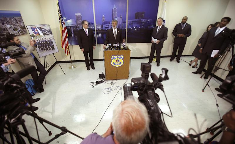 Cleveland Mayor Frank Jackson answers questions during a news-conference Tuesday, June 11, 2013, in Cleveland.  Cleveland police say one supervisor was fired, two were demoted and nine were suspended for their roles in a November chase in which officers fired 137 shots and killed a fleeing driver and his passenger. (AP Photo/Tony Dejak)