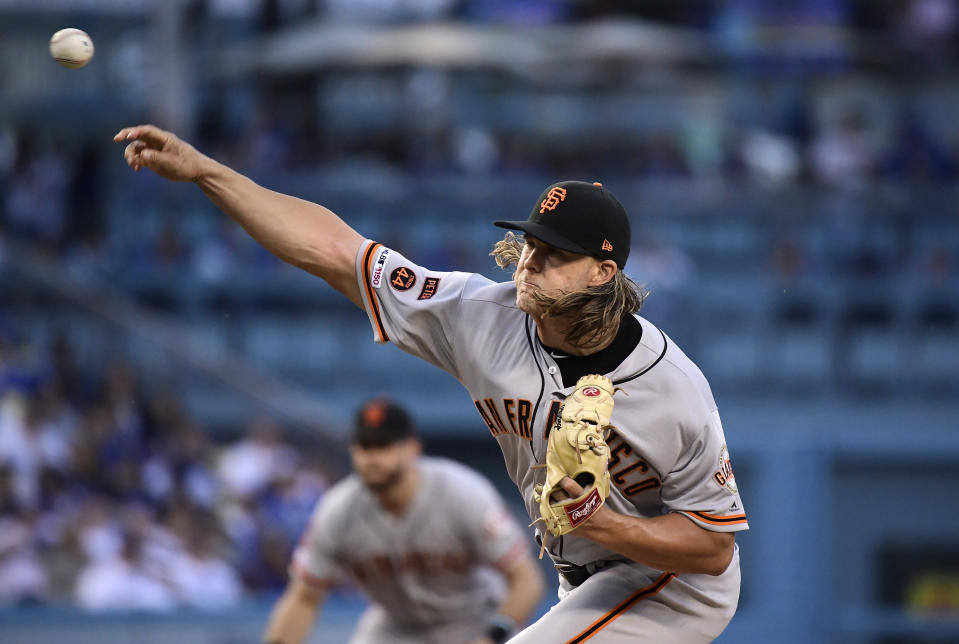 San Francisco Giants starting pitcher Shaun Anderson throws during the first inning of the team's baseball game against the Los Angeles Dodgers on Tuesday, June 18, 2019, in Los Angeles. (AP Photo/Mark J. Terrill)