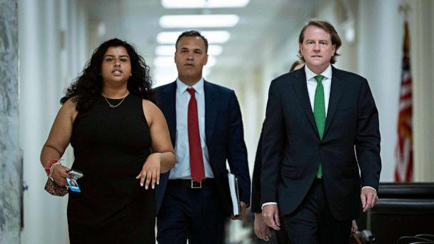 PHOTO: Former White House counsel Don McGahn, right, arrives for a closed door meeting with the House Judiciary Committee on Capitol Hill, June 4, 2021, in Washington, D.C. (Drew Angerer/Getty Images)