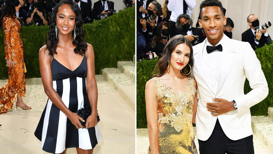 Leylah Fernandez and Felix Auger Aliassime, pictured here at the Met Gala.