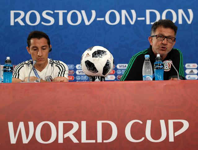 Soccer Football - World Cup - Mexico Press Conference - Rostov Arena, Rostov-on-Don, Russia - June 22, 2018 Mexico's Andres Guardado and coach Juan Carlos Osorio during the press conference REUTERS/Marko Djurica