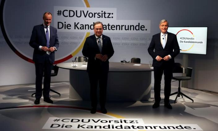 FILE PHOTO: CDU chairmanship candidates hold discussion in Berlin