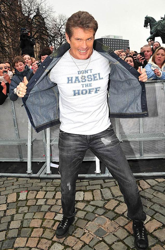 "David Hasselhoff took the U.K. by storm on Thursday ... revealing his signature saying, ""Don't Hassel The Hoff!"" via his chest. The former ""Baywatch"" hunk is currently across the pond serving as a judge on ""Britain's Got Talent."" Optic Photos/<a href=""http://www.pacificcoastnews.com/"" target=""new"">PacificCoastNews.com</a> - April 21, 2011"