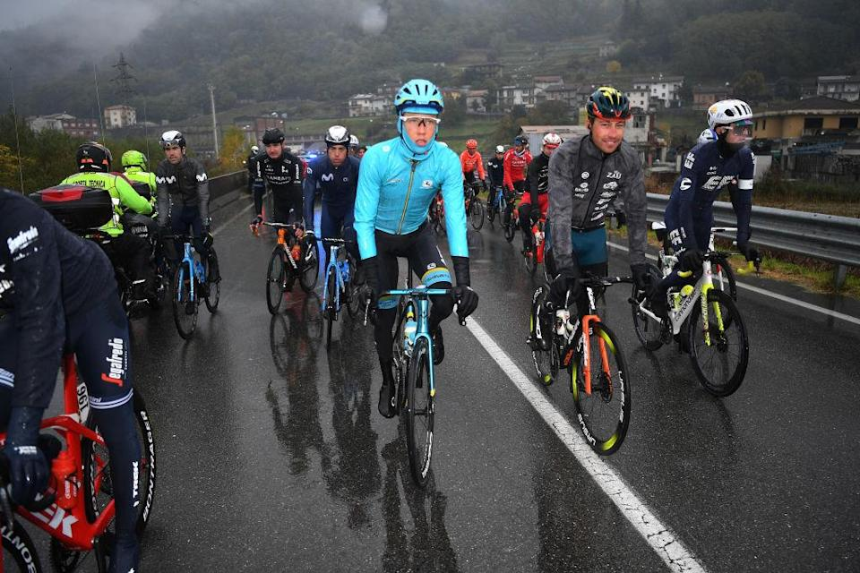 ASTI ITALY  OCTOBER 23 Jonas Gregaard of Denmark and Astana Pro Team  Simone Bevilacqua of Italy and Team Vini Zabu KTM  James Whelan of Australia and Team EF Pro Cycling  Race neutralised due to heavy rain and team riders protest  during the 103rd Giro dItalia 2020 Stage 19 a 258km stage from Morbegno to Asti  girodiitalia  Giro  on October 23 2020 in Asti Italy Photo by Tim de WaeleGetty Images