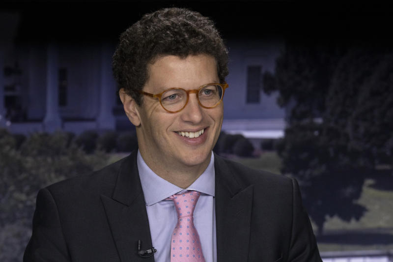 Brazil's Minister of the Environment Ricardo Salles smiles for a photo during an interview with The Associated Press in Washington, Friday, Sept. 20, 2019. After facing international criticism for steeply rising rates of deforestation in the Amazon, Salles is visiting the U.S., France, Germany, and the United Kingdom to insist that there's no big problem. (AP Photo/Jon Elswick