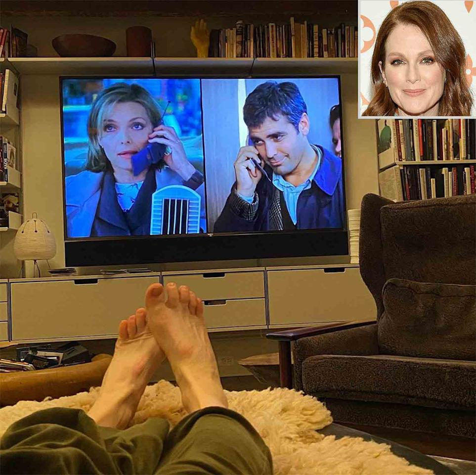 """<p>""""Hang in there everybody,"""" wrote the <em>Still Alice</em> actress, sharing a photo of her <a href=""""https://www.instagram.com/p/B9vNew_py5v/"""">view from bed</a> while watching <em>One Fine Day</em> starring George Clooney and Michelle Pfeiffer. """"Most soothing movie with the most gorgeous people.""""</p>"""