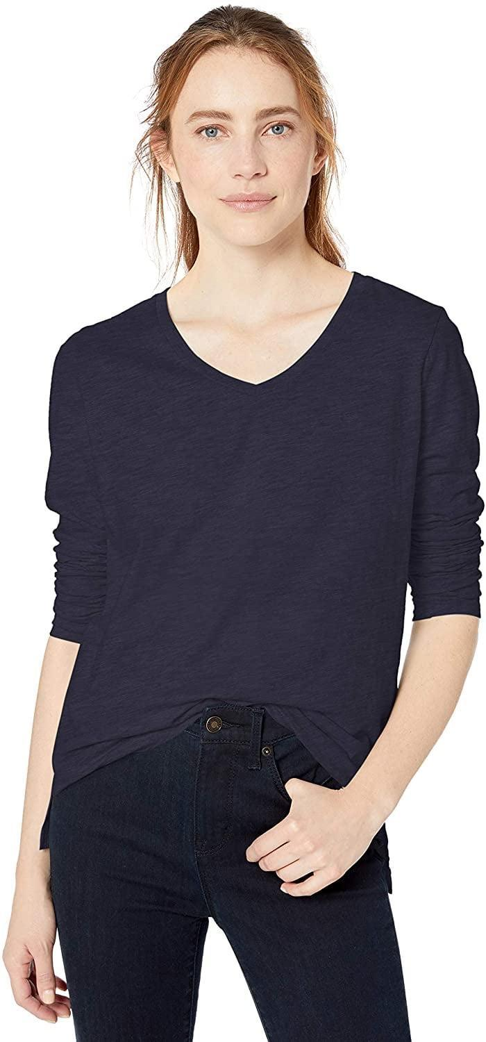 <p>The top-rated, 100-percent-cotton <span>Goodthreads Women's Vintage Cotton Long-Sleeve V-Neck T-Shirt</span> ($16-$20) feels already broken in for you.</p>