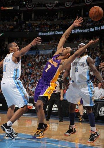 Los Angeles Lakers' Ramon Sessions (C) during game four of the NBA Western Conference first-round playoffs on May 6. Sessions nailed the go-ahead three-point shot to lift the Lakers to a 92-88 win over the Nuggets