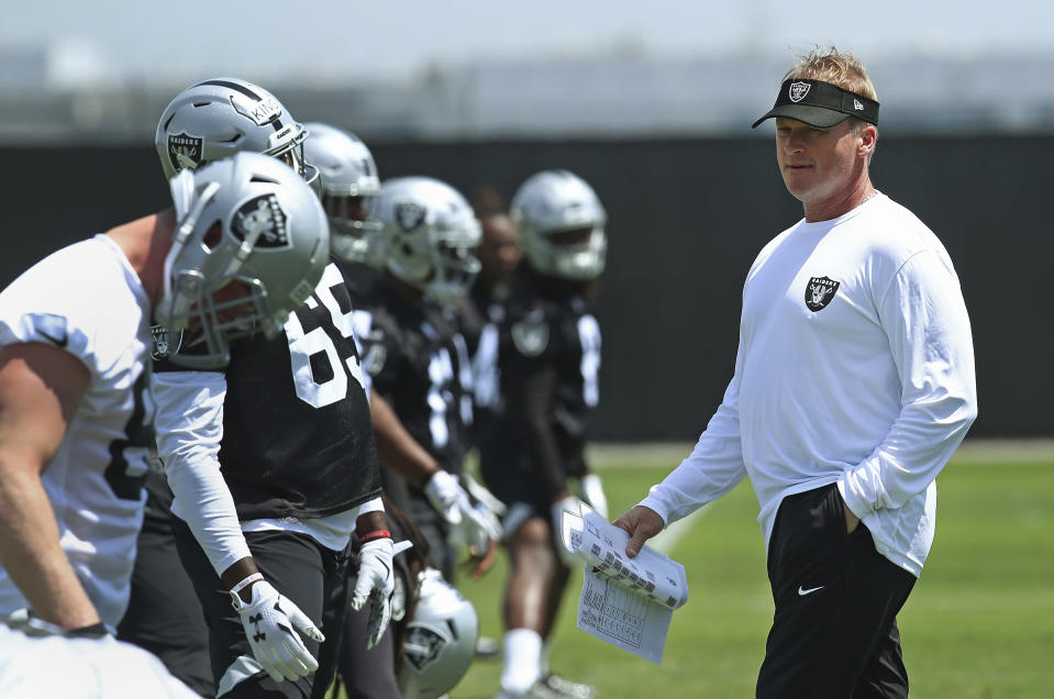 """Jon Gruden is living up to his promise of keeping to """"the old-fashioned way,"""" showing Raiders players grainy film footage from before they were born. (AP)"""