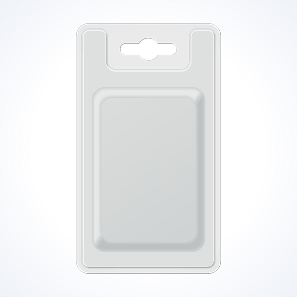 Plastic Transparent Blister With Hang Slot, Product Package. Illustration Isolated On White Background. Ready For Your Design. Vector EPS10