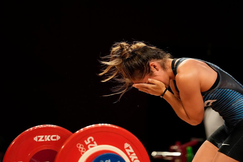 Jourdan Delacruz reacts during the women's 49kg weightlifting competition, in which she finished seventh.