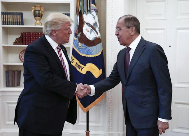 President Trump with Russia's Foreign Minister Sergey Lavrov at the White House. (Photo: Alexander Shcherbak/TASS via Getty Images)