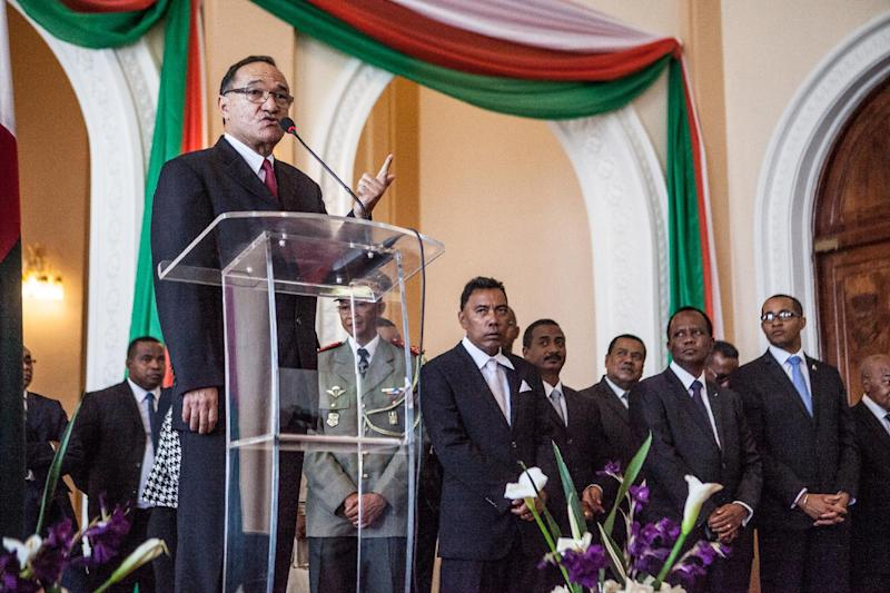 Prime Minister Kolo Roger speaks during the ceremony of appointment of the 31 Secretaries of State of his government at Iavoloha Presidential Palace in Antananarivo on April 18, 2014