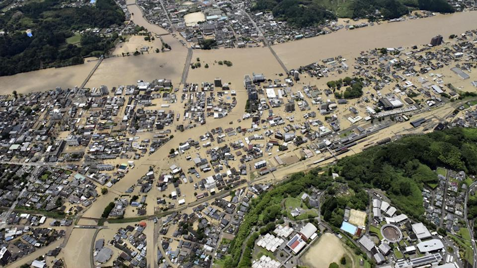Flooded streets of Kumamoto prefecture, southwestern Japan