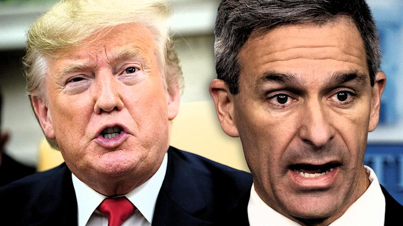 President Donald Trump and Acting Director of United States Citizenship and Immigration Services Ken Cuccinelli. (Photo illustration: Yahoo News; photos: Mandel Ngan/AFP via Getty Images, Evan Vucci/AP)